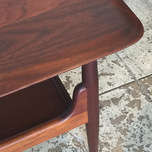 Pair of Chic Two-Tier Walnut Side Tables For Sale In Los Angeles - Image 6 of 8