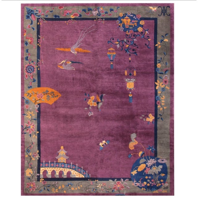 """Antique Chinese Art Deco Rugs 9'2"""" X 11'8"""" For Sale - Image 11 of 11"""