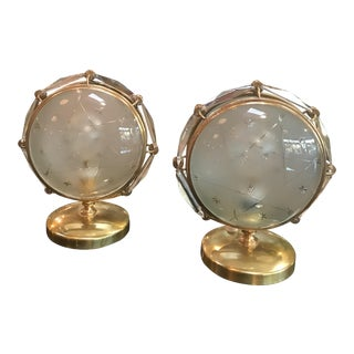 Italian table lamps in brass and worked glass
