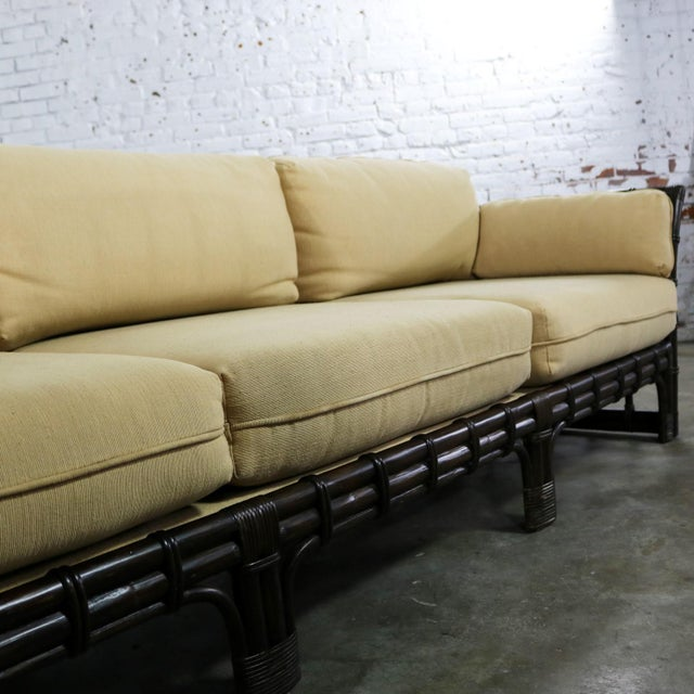 Brown Jordan Windowpane Dark Brown Rattan Sofa With Straw Colored Cushions For Sale - Image 9 of 13