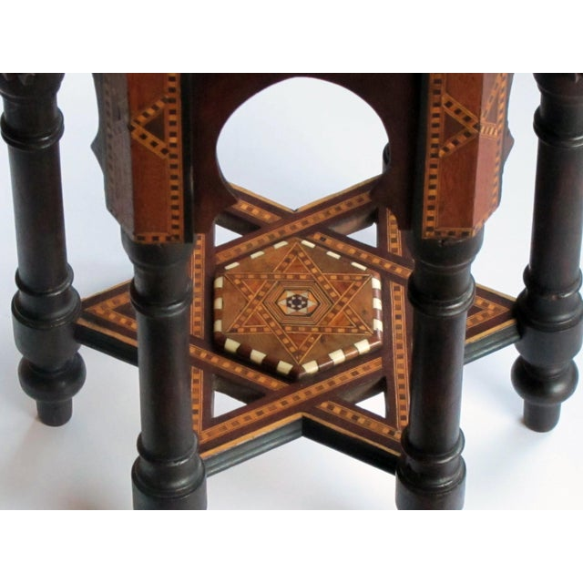 An Intricately Inlaid Syrian Hexagonal Table For Sale - Image 4 of 6