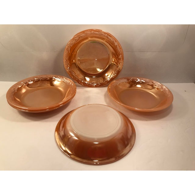 Anchor Hocking 1960s Fire King Carnival Glass Luster Ware Peach Gold Ovenware Bowl For Sale - Image 4 of 5