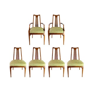 Baker Walnut Mid Century Modern Cane Backed Dining Chairs - Set of 6 For Sale