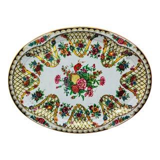 Vintage Floral Serving Platter / Bar Tray For Sale