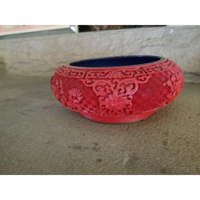 Asian Chinese Hand Carved Cinnabar Red Bowl For Sale - Image 3 of 7