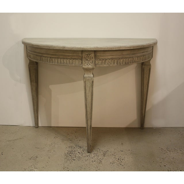 "Swedish Gustavian antique reproduction demilune table. Hand crafted. 44"" Wide, 31.5"" High, 22"" Deep Textured grey finish..."