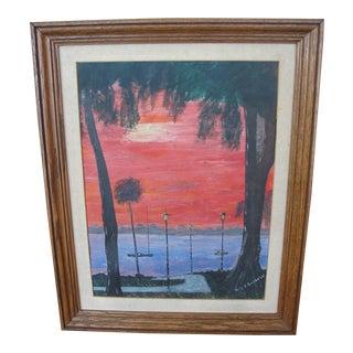 Vintage Gouache Florida Sunset For Sale