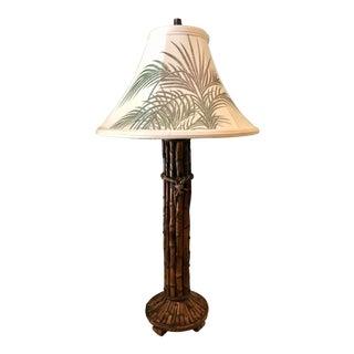 1980s Vintage Bamboo Table Lamp For Sale
