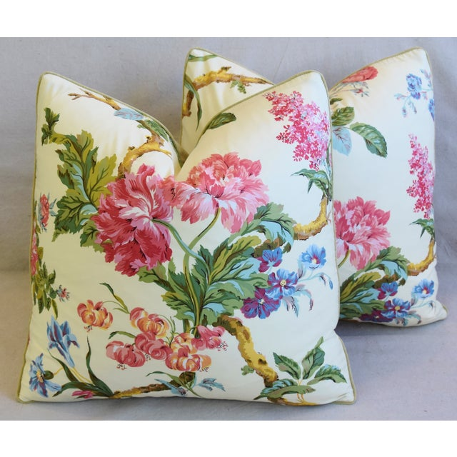 """French Brunschwig & Fils Floral Feather/Down Pillows 21"""" Square - Pair For Sale - Image 13 of 13"""