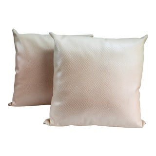 Vintage Pink Chic Snake Skin Style Leather Pillows - a Pair For Sale
