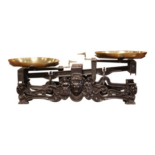 19th Century French Polished Iron and Brass Scale With Cow and Ram Decor For Sale