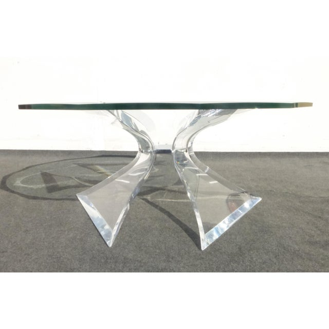 Designer Signed Lion in Frost Triple Butterfly Lucite and Glass Coffee Table For Sale - Image 10 of 13