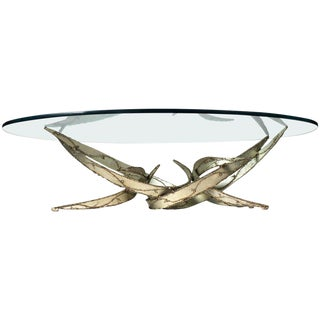 Silas Seandel Silver Leafed Brutalist Coffee Table For Sale
