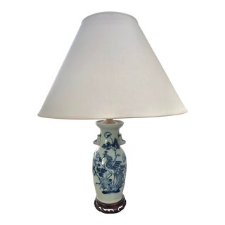 Mid 20th Century Small Blue & White Chinoiserie Lamp For Sale