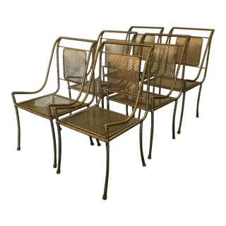 Gilt Metal Chairs - Set of 6 For Sale