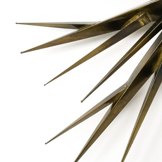 Gold Curtis Jere Patinated Brass Branching Starburst Wall Sculpture, 1981 For Sale - Image 8 of 11