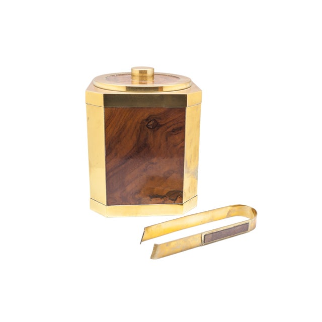 Mid-Century Modern Vintage Wood and Brass Ice Bucket with Tongs For Sale - Image 3 of 3