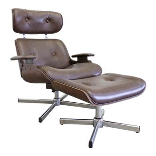 Mid-Century Modern George Mulhauser Plycraft Swivel Lounge Chair & Ottoman For Sale