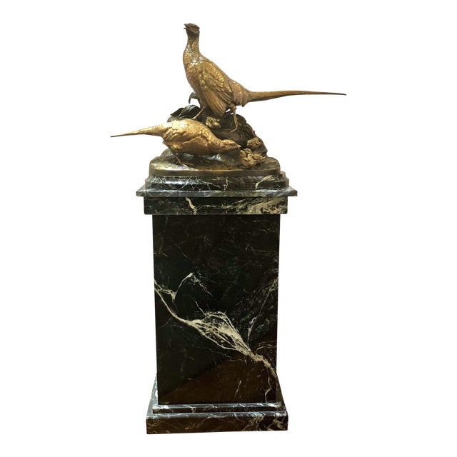 """Exceptional Antique French Bronze Sculpture, """"Pheasant Brood,"""" on Marble Pedestal, Signed """"Clovis Masson"""" (1838-1913). For Sale"""