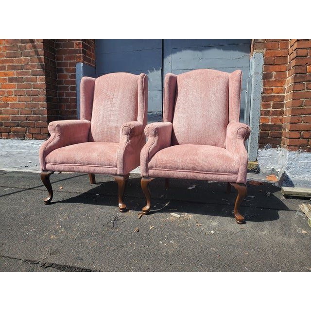 Victorian Vintage Blush Pink Velvet Armchairs - a Pair For Sale - Image 3 of 12