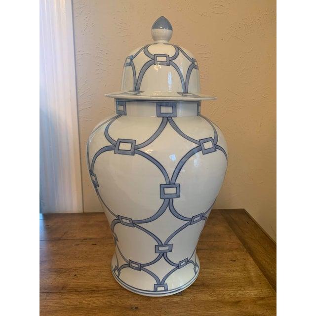 Asian Blue & White Porcelain Lover Locks Temple Jar For Sale - Image 3 of 13