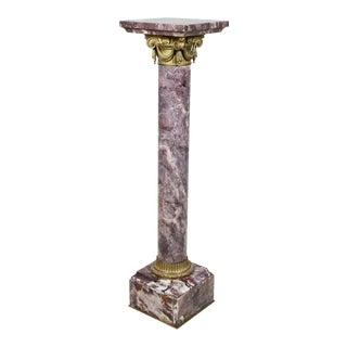 French Breche Violette and Bronze Pedestal