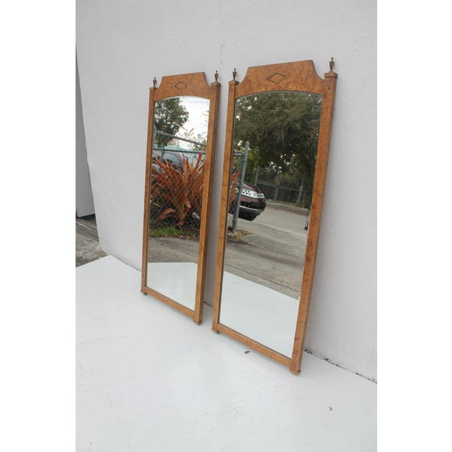 Burlwood & Brass Wall Mirrors - A Pair - Image 4 of 11