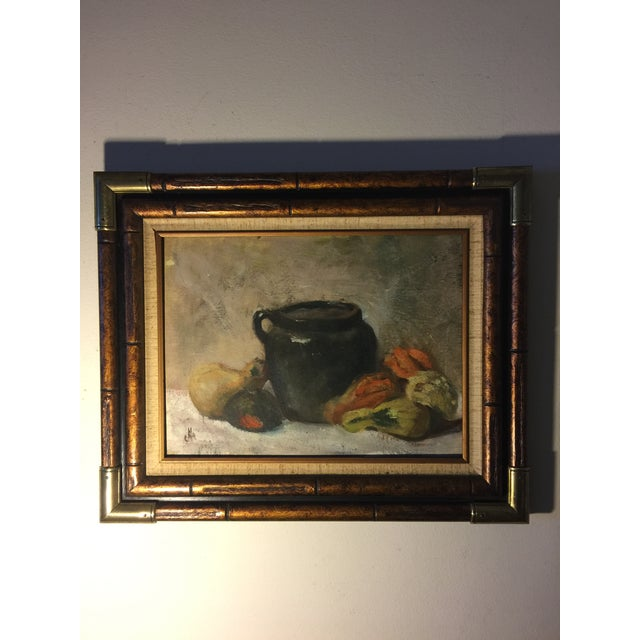 Vintage Still Life Oil on Board Painting Signed by Artist For Sale - Image 11 of 11