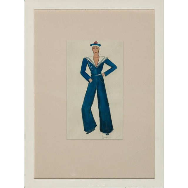 Vintage French Nautical Fashion Gouache - Image 1 of 3