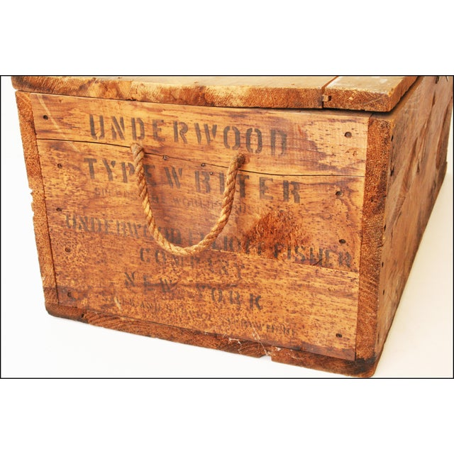 Vintage Rustic Underwood Typewriter NYC Wood Storage Crate - Image 6 of 11