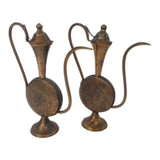 Vintage Antique Ornate Brass Tea / Coffee Pitchers - A Pair