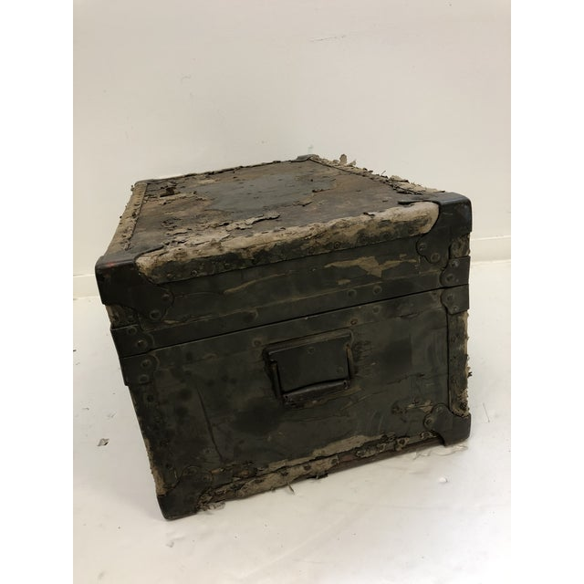 Vintage Industrial Green Military Foot Locker Trunk For Sale - Image 11 of 13