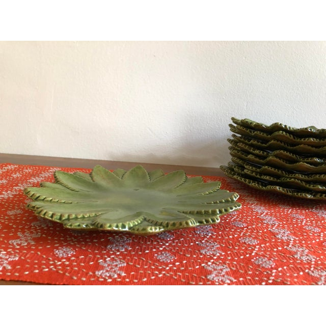 Boho Chic Hand Made Studio Pottery Leaf Ceramic Plates With Serrated Edge - Set of 9 For Sale - Image 3 of 8