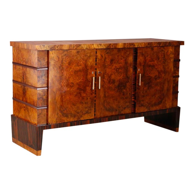Gio Ponti Sideboard Midcentury in Walnut Briar and Brass Attributed, 1950s For Sale