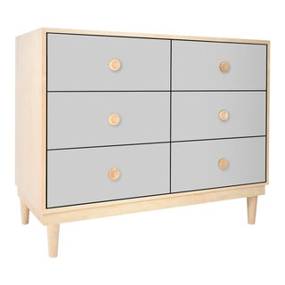 Lukka Modern Kids 6-Drawer Dresser in Maple With Gray Finish For Sale