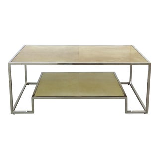 Chrome & Parchment Cocktail Table For Sale