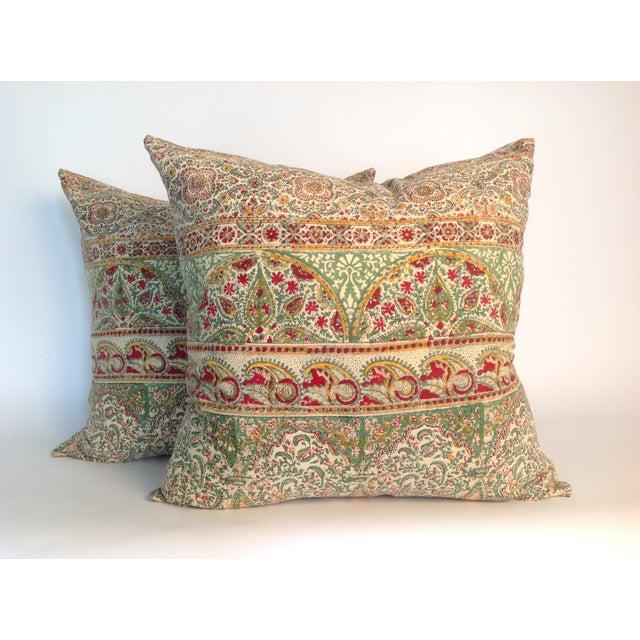 Vintage Block Print Green Kantha Pillows - A Pair - Image 2 of 4