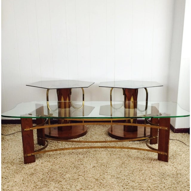Mid-Century Wood & Glass Coffee & Lighted Side Table - Set of 3 For Sale - Image 4 of 10