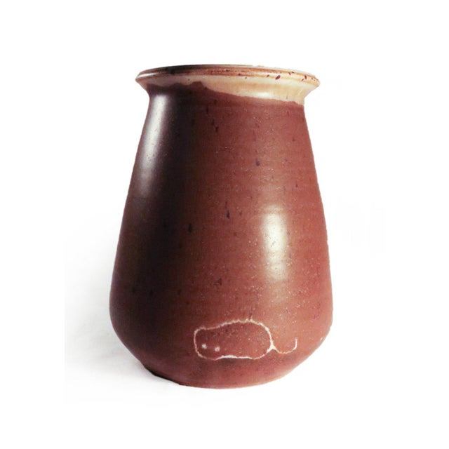 1977 Brown Glaze Studio Pottery Vase For Sale - Image 4 of 5