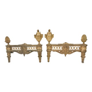 19th Century Ornate Gold French Fireplace Andirons For Sale