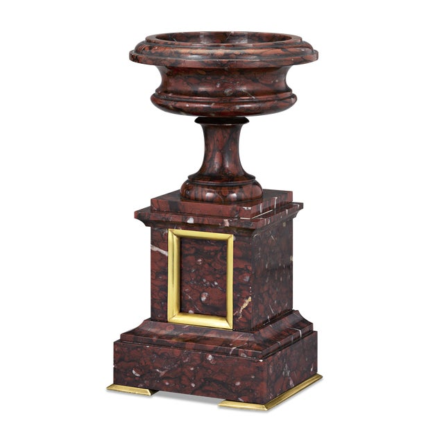 """Elegant and stately is this pair of marble and doré bronze urns hewn from the finest French """"Partridge eye"""" rouge griotte..."""