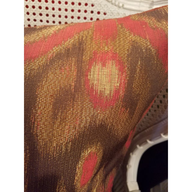 """Garnet Red & Bronze 24"""" Ikat Down Pillows - a Pair For Sale - Image 4 of 5"""