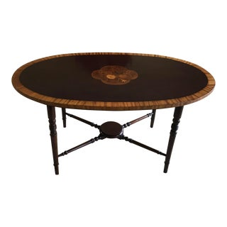 Federal Coffee Table With Satinwood Band and Floral Inlay For Sale
