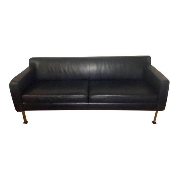 Design Within Reach Black Leather Couch - Image 1 of 4