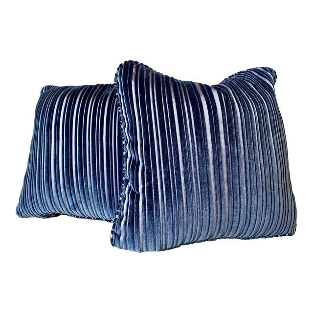 Contemporary Navy Blue Stripped Pillows - a Pair For Sale