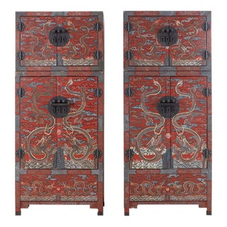 Chinese Polychrome Decorated Compound Dragon Cabinets - a Pair For Sale