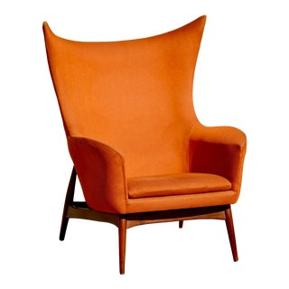 1960 Mid Century Danish Hw Klein for Bramin Mobler Wingback Chair For Sale