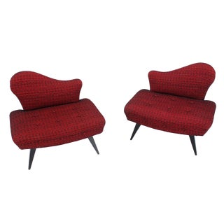 Pair of Fireside Slipper Lounge Chairs For Sale