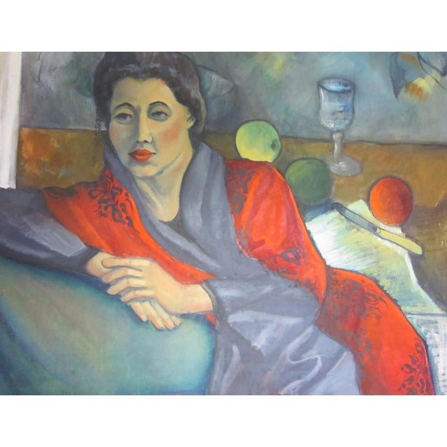 Gallant Modernist Portrait of a Woman Painting For Sale - Image 4 of 6