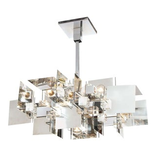 Gaetano Sciolari Mid-Century Modern Cubist Polished Chrome and Lucite Chandelier For Sale